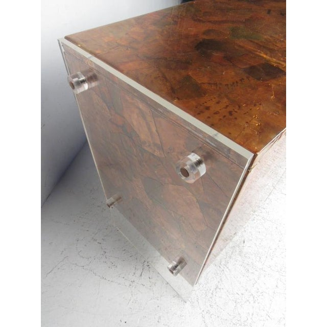 Patchwork Copper and Lucite Sideboard in the Style of Milo Baughman For Sale - Image 9 of 11