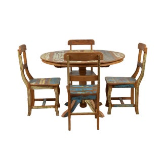Reclaimed Wood Round Dining Set For Sale