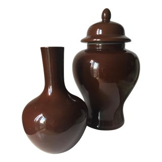 Tozai Ginger Jar & Gooseneck Vases - Set of 2 For Sale