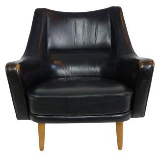Ib Kofod-Larsen Black Leather Lounge Chair For Sale
