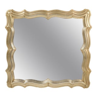 Dorothy Draper Scallop Frame Silver Leaf Mirror For Sale