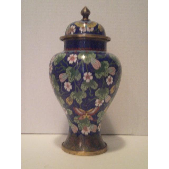 Cobalt Blue Cloisonne Covered Ginger Jar - Image 2 of 11