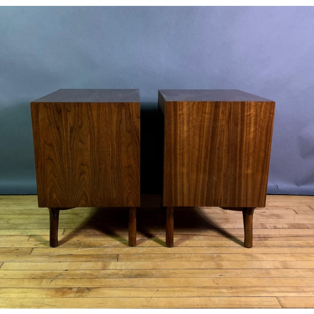 1960s American Modern Walnut and Brass Nightstands For Sale In New York - Image 6 of 10