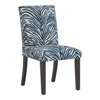 Dining Chair in Washed Zebra Blue For Sale