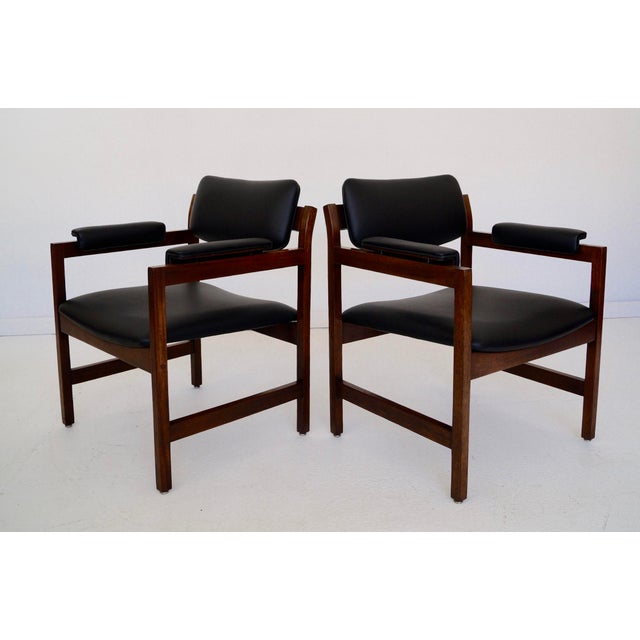 Wood Mid-Century Walnut Arm Chairs - a Pair For Sale - Image 7 of 11