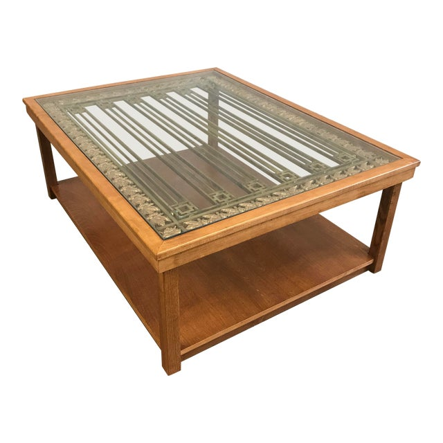 Upcycled Antique Bank Teller Cage Bars Coffee Tables For Sale