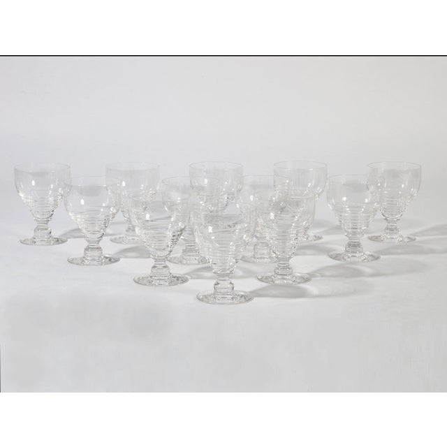 English Stuart English Crystal Armorial Crest Dragon Wine Sten Goblets - Join or Die Motto Set of 10 For Sale - Image 3 of 3