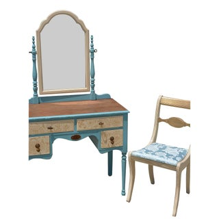 Painted Wood Makeup Vanity Desk With Mirror and Upholstered Chair Preview