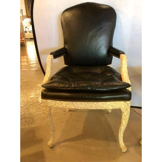 Maison Jansen Black Leather Serge Roche Carved Dining Chairs - Set of 12 Preview