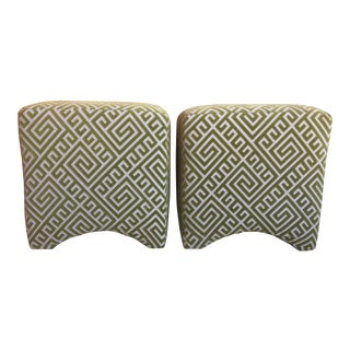 Green Velvet Graphic Print Ottomans - A Pair