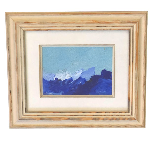 """Superb Acrylic on Paper original landscape painting in a off white wood frame .signed YJr. painting 5"""" by 7"""""""