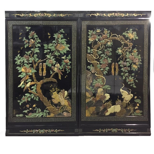 Vintage Chinoiserie Black Lacquer Mother of Pearl Inlay Wardrobe Armoire - Pair Available For Sale - Image 11 of 11