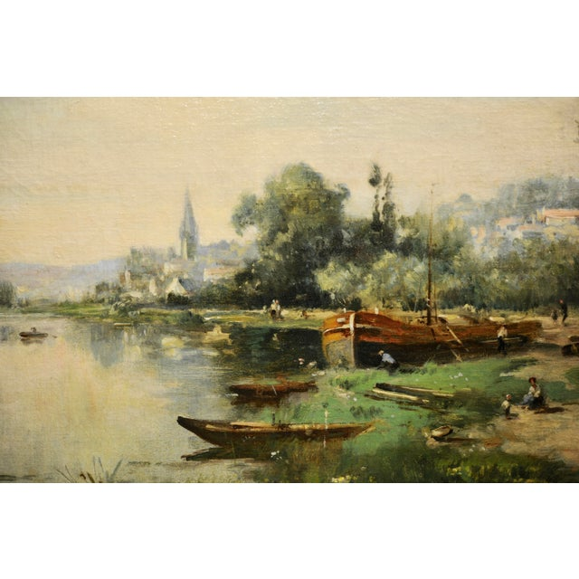 Contemporary Maurice Levis -Picturesque French River Scene -19th Century Oil Painting For Sale - Image 3 of 10