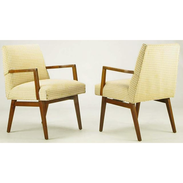 Mid-Century Modern Pair Carved Walnut & Upholstered Arm Chairs After Wormley For Sale - Image 3 of 10