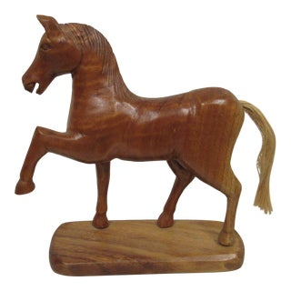 1950s Wooden Horse Figurine For Sale