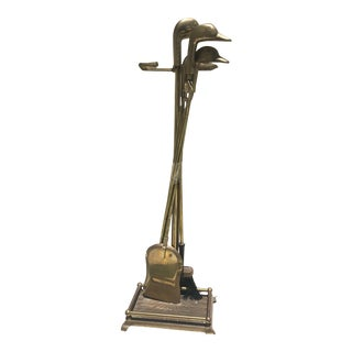 Mid-Century Brass Duck Fireplace Tools For Sale