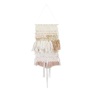 Tan & Gold Woven Wall Hanging For Sale