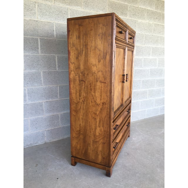 Description: Century Chair Company Faux Bamboo 4 Drawer Armoire - Wardrobe Cabinet. In Very Good Vintage Furniture...