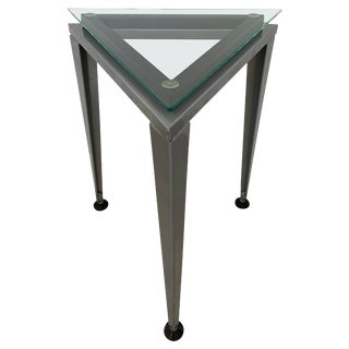 Postmodern Triangular Glass and Steel Occasional or Drinks Tables For Sale