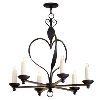 Italian 6 Arm Wrought Iron Chandelier by Randy Esada Designs for Prospr For Sale