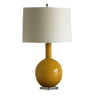Tangerine Colour Glass Table Lamp, Italy For Sale