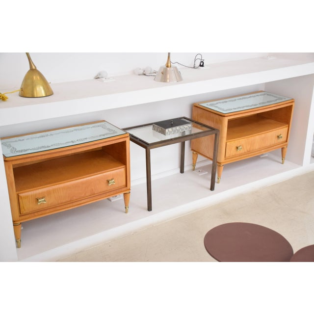 Italian Mid 20th Century Italian Mid-Century Maple Wood Nightstands - a Pair For Sale - Image 3 of 13