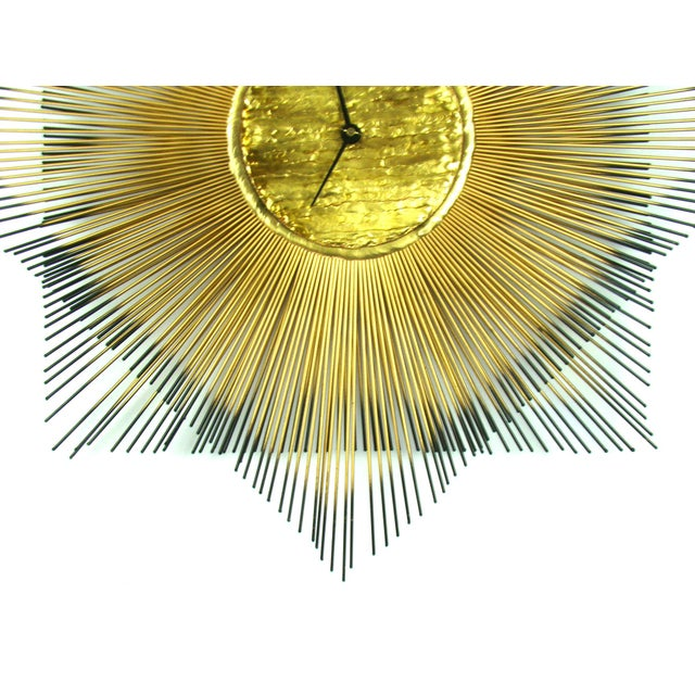 Signed Mid-Century Modern George Nelson Style Brass Sunburst Wall Clock - Image 5 of 10