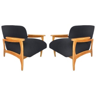 Knoll Boucle Fabric Mid-Century Modern Armchairs Restored & Reupholstered For Sale