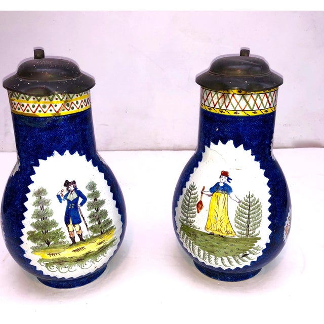 Early 20th Century Antique Brussels Ceramic Pitchers With Pewter Lids - a Pair For Sale - Image 5 of 5