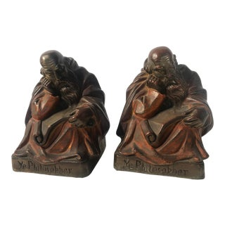 1920 'Ye Philosopher' Armor Bronze Company Bookends - a Pair For Sale