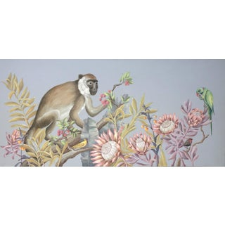 """The Natives"" Monkey Painting in the Chinoiserie Style by Allison Cosmos For Sale"