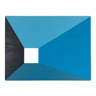 "Contemporary Abstract Minimal Painting ""Blue Door"" by Max & Alma Wolf For Sale"