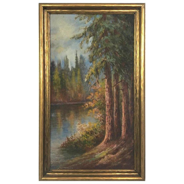 "1927 ""California Redwoods on the Riverbank"" Landscape Painting For Sale - Image 11 of 12"