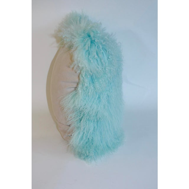 Caribbean Blue Curly Lamb Pillow For Sale - Image 5 of 5