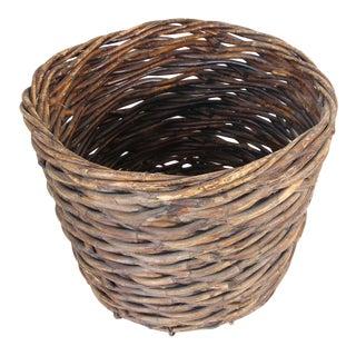 Oversized French Vintage Harvest Wicker Basket For Sale
