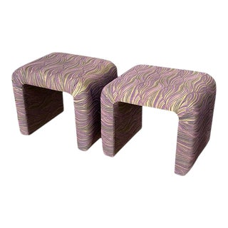 Mid-Century Modern Waterfall Milo Baughman Purple Stools or Ottomans - a Pair For Sale