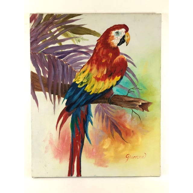 1980's Vibrant Stretched Canvas Parrot on a Branch Signed Grimes For Sale - Image 9 of 9