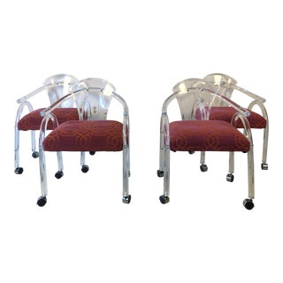 Mid-Century Charles Hollis Jones Lucite Chairs- Set of 4 For Sale
