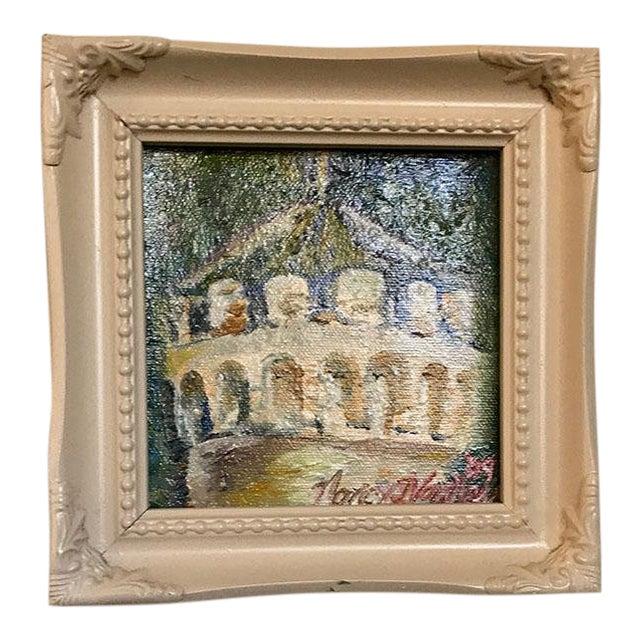 "Original ""Castle Turret"" Framed Oil Painting by Nancy T. Van Ness For Sale"