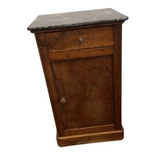 Antique French Wood and Marble Nightstand For Sale