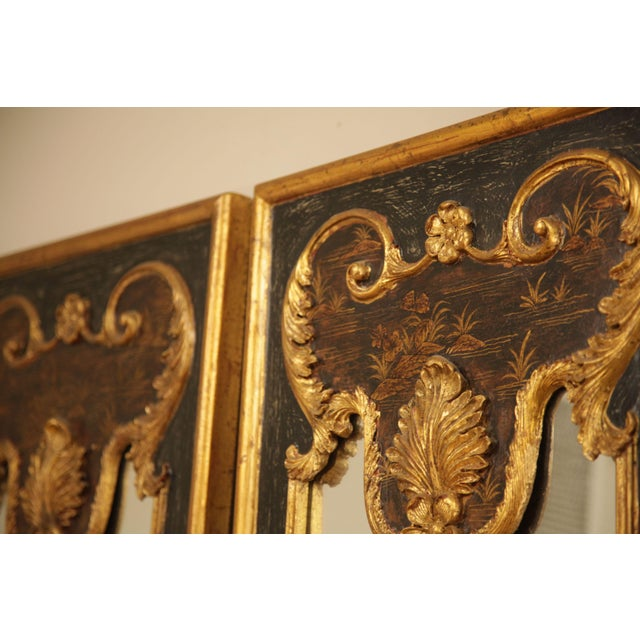 "2000 - 2009 Castilian 76"" Tall Pair Gilt Carved Rococo Chinoiserie Painted Mirror Wall Panels For Sale - Image 5 of 12"