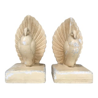 Art Deco Coventry Ware Stylized Cream Dove Bookends Statues, a Pair For Sale