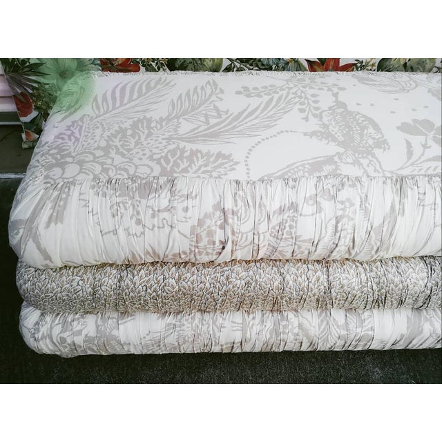 White Custom Made Massive 3 Tiered Upholstered Bench Ottoman For Sale - Image 8 of 11