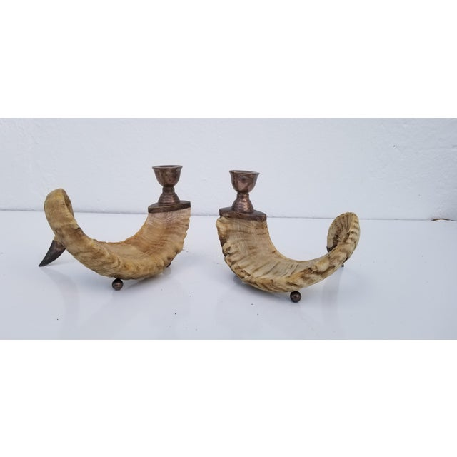 1960s Vintage Ram's Horns and Silver Bronze Candleholders- A Pair For Sale - Image 4 of 10