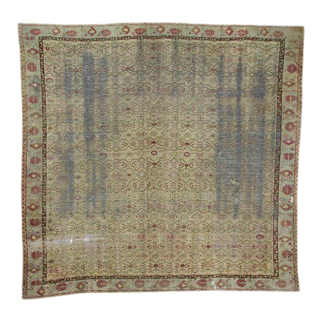 Distressed Antique Oversized Square Rug - 12′10″ × 13′9″ For Sale