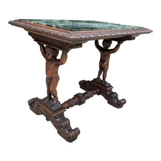 19th Century Walnut Carved Coffee Table With Green Marble Top For Sale