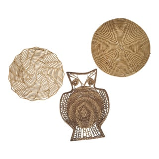 Wall Hanging Vintage Wicker Owl and Trivet - Set of 3