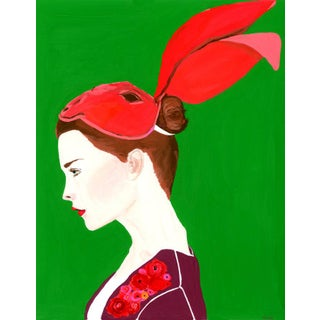 """""""Portrait of a Girl With Bunny Mask"""" Contemporary Gouache Painting by Alexandra Swistak For Sale"""