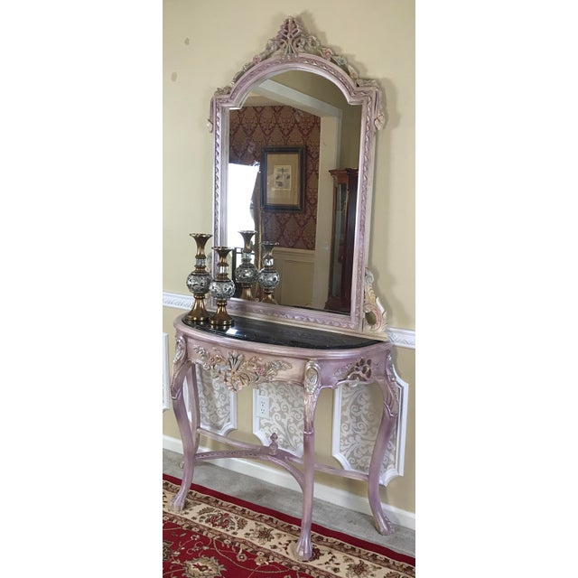 French Louis XV style mirror with matching set console comes with a marble top. The original console was of gold leaf...