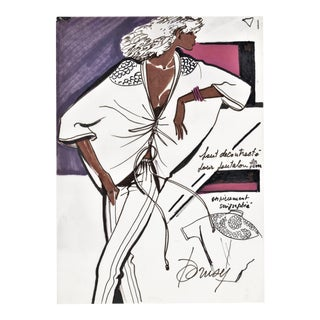 Original Watercolor French Sportswear Fashion Drawing For Sale